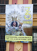 Poster advertising celebration of 75 years of Carmen Coronada statue restoration in the city of Malaga, Spain