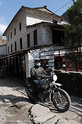 Denver Joe Hicks on the main street of Tatopani starting out on Day-7 of our Himalayan Heroes adventure riding from Tatopani to Pokhara, Nepal. Monday, November 12, 2018. Photography ©2018 Michael Lichter.