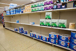 © Licensed to London News Pictures. 05/03/2020. London, UK. Sainsbury's store in London runs low of toilet rolls amid an increased number of cases of Coronavirus (COVID-19) in the UK. Three more cases were confirmed in Scotland this morning, taking the UK total to ninety. Photo credit: Dinendra Haria/LNP