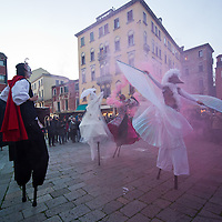 Today saw the opening of the Venetian Carnival, which runs till February 12th. Members of  French theatre company, Ilotopie,performed on the Cannaregio Canal and along its banks