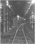 View inside the RGS Lizard Head snowshed on the wye with the track on left being the north turnout to the tail track of the wye.<br /> RGS  Lizard Head, CO  Taken by Beck, John G. - 9/3/1948<br /> Thanks to Don Bergman for additional information.