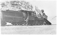 """RGS 2-8-0 #15 switching at Telluride.<br /> RGS  Telluride, CO  <br /> In book """"Southern, The: A Narrow Gauge Odyssey"""" page 100"""