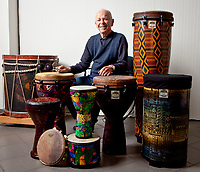 Remo D. Belli, CEO and Founder of Remo, Inc, poses with some of his drums in Valencia, CA. February 21, 2011.