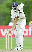 Shenley, Middlsex. ENGLAND, Sri Lanka Tour match.<br /> Photo Peter Spurrier<br /> 11/05/2002<br /> Sport - Cricket - Middlesex vs Sri Lanka -Shenley:<br /> Sri Lanka No 9 Zoysaplaying a ball form  Bloomfield                             [Mandatory Credit:Peter SPURRIER/Intersport Images]
