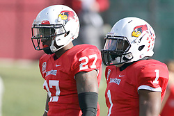08 November 2014: Josh Burch an Tevin Allen wait for a kick off during an NCAA Missouri Valley Football Conference game between the Youngstown State Penguins and the Illinois State Redbirds at Hancock Stadium in Normal Illinois