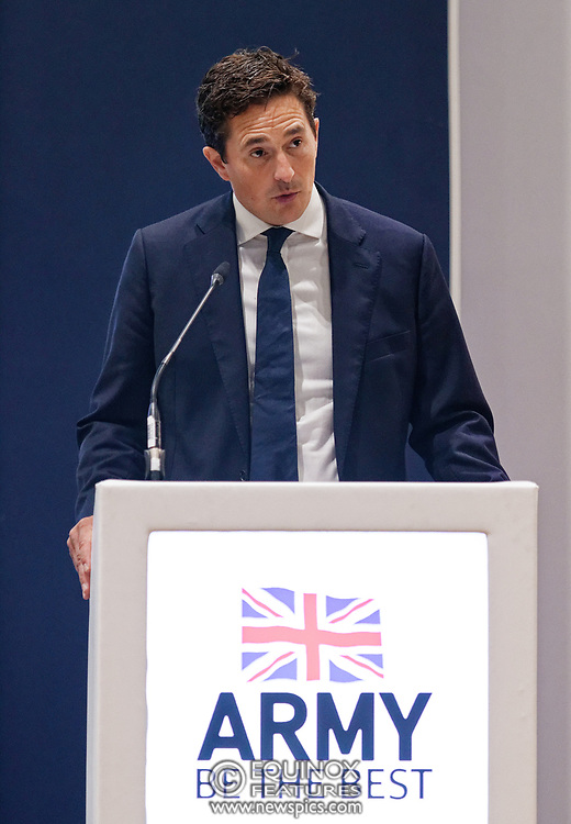 London, United Kingdom - 12 September 2019<br /> Johnny Mercer MP, Parliamentary Under-Secretary of State for Defence People and Veterans for the UK Government gives a keynote address speech and answers questions from the audience at DSEI 2019 security, defence and arms fair at ExCeL London exhibition centre.<br /> (photo by: EQUINOXFEATURES.COM)<br /> Picture Data:<br /> Photographer: Equinox Features<br /> Copyright: ©2019 Equinox Licensing Ltd. +443700 780000<br /> Contact: Equinox Features<br /> Date Taken: 20190912<br /> Time Taken: 10120600<br /> www.newspics.com