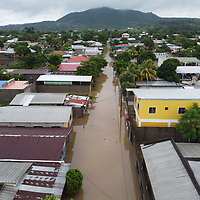 A flooded street in Pimienta near San Pedro Sula, Honduras, directly after hurricane Iota. The water came at 2am, a lot of people were prepared, but flash flooding caught many by surprise and they lost all their belongings.