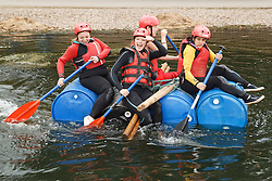 Visually impaired people doing rafting activity at the National Water Sports Centre.