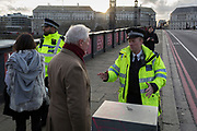 Lambeth Bridge closed in the aftermath of the terrorism event when four people were killed (including the attacker) and 20 injured during a terrorist attack on Westminster Bridge and outside the Houses of Parliament, on 22nd March 2017, in central London, England. Parliament was in session and all MPs and staff and visitors were in lock-down while outside, the public and traffic were kept away from the area of Westminster Bridge and parliament Square, the scenes of the attack. It is believed a lone man crashed his car into pedestrians then, armed with a knife tried to enter Parliament, stabbing and killing a police officer at parliament's main gates.