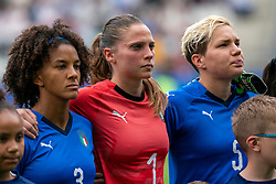 14-06-2019 FRA: Jamaica - Italy, Reims<br /> FIFA Women's World Cup France group C match between Jamaica and Italy at Stade Auguste Delaune / Sara Gama #3 of Italy, Laura Giuliani #1 of Italy, Elena Linari #5 of Italy