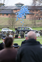 © licensed to London News Pictures. Stafford, UK  17/03/2012. 190 blue balloons are released in honour of PC Rathband's call sign (Tango 190) and the Blue Lamp Foundation. The funeral of PC David Rathband. Photo credit should read Joel Goodman/LNP