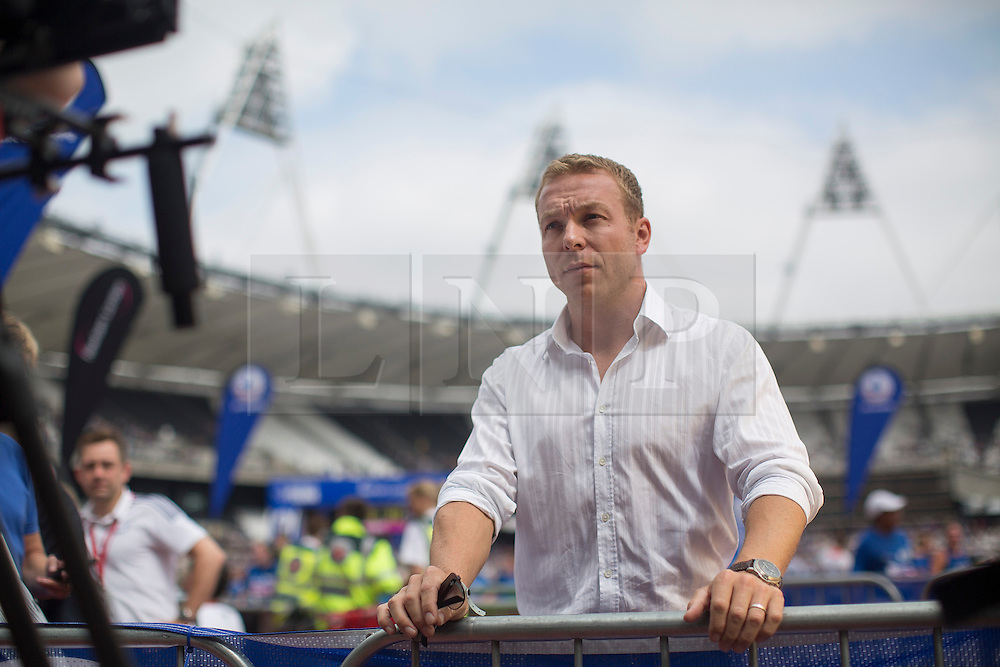© licensed to London News Pictures. London, UK 21/07/2013. Sir Chris Hoy talking to media at the Stadium at Queen Elizabeth Olympic Park on Sunday, 21 July 2013 as he supports 12,500 runners of The National Lottery Anniversary Run. The Stadium at Queen Elizabeth Olympic Park open its doors to the public for the first time since London 2012. Photo credit: Tolga Akmen/LNP