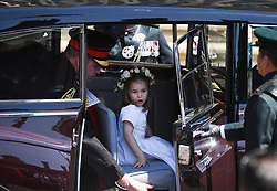 © Licensed to London News Pictures. 19/05/2018. London, UK.  PRINCESS CHARLOTTE at the wedding of Prince Harry, The Duke of Sussex and Meghan Markle, The Duchess of Sussex at St George's Chapel in Windsor Castle. Photo credit: LNP