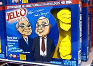 Berkshire Hathaway CEO Warren Buffett and vice chairman Charlie Munger are seen on Jell-O for sale at the shareholder shopping day as part of the Berkshire Hathaway annual meeting weekend in Omaha, Nebraska May 5 2017. REUTERS/Rick Wilking