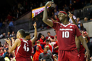 DALLAS, TX - NOVEMBER 25: Bobby Portis #10 of the Arkansas Razorbacks celebrates after defeating the SMU Mustangs on November 25, 2014 at Moody Coliseum in Dallas, Texas.  (Photo by Cooper Neill/Getty Images) *** Local Caption *** Bobby Portis