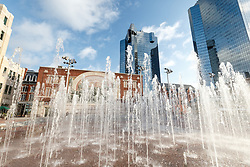 Sundance Square fountain and Chisholm Trail Mural, Fort Worth, Texas, USA.