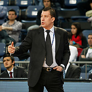 Anadolu Efes's coach Ufuk Sarica during their Turkish Basketball League match Anadolu Efes between Olin Edirne at Arena in Istanbul, Turkey, Saturday, February 11, 2012. Photo by TURKPIX