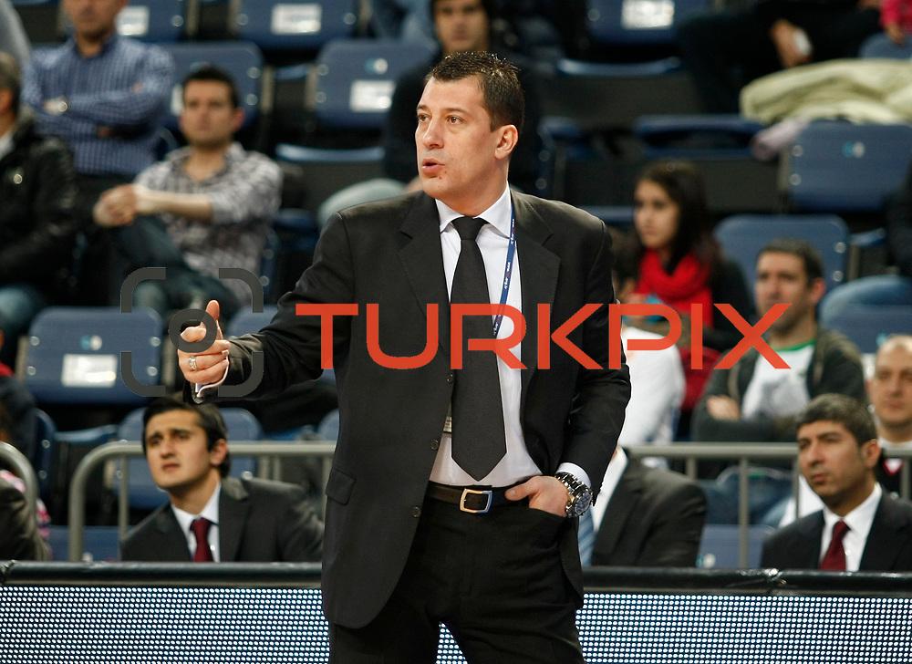 Anadolu Efes's coach Ufuk Sarica during their Turkish Basketball League match Anadolu Efes between Olin Edirne at Arena in Istanbul, Turkey, Saturday, February 11, 2012. Photo by TURKPIX