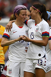 July 7, 2019 - Lyon, France - Megan Rapinoe (Reign FC) and Alex Morgan (Orlando Pride) of United States celebrate after winning the2019 FIFA Women's World Cup France Final match between The United State of America and The Netherlands at Stade de Lyon on July 7, 2019 in Lyon, France. (Credit Image: © Jose Breton/NurPhoto via ZUMA Press)