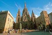 SPAIN, BARCELONA, MONUMENTS Barri Gotic; the old Gothic medieval area with Santa Eulalia Cathedral, built in 1298-1913AD in Gothic style