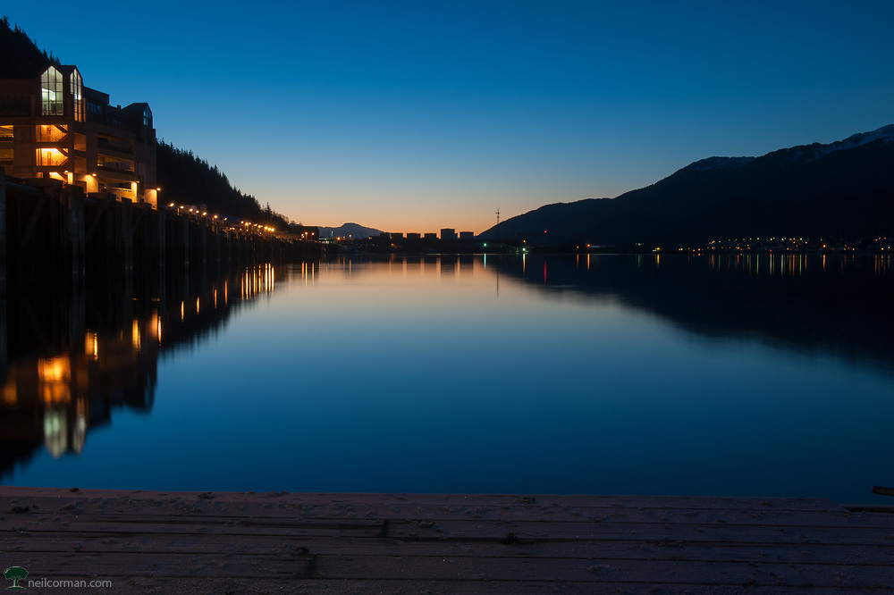 I headed out to a pier near downtown Juneau to capture the early morning light prior to sunrise. With sunrise almost 8:00am it doesn't require that early of a wake-up call but still enough to get the pre-dawn light. As I have mentioned before outside of the cruise ship season it is definitely a different city.