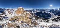 Aerial view of Dolomites mountain range, northeastern Italy.