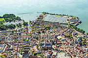 Nederland, Noord-Holland, Gemeente Hoorn, 05-08-2014; binnenstad van Hoorn met zicht op de Garshaven met jachthaven en Oostereiland.<br /> Town center Hoorn w marina.<br /> luchtfoto (toeslag op standard tarieven);<br /> aerial photo (additional fee required);<br /> copyright foto/photo Siebe Swart