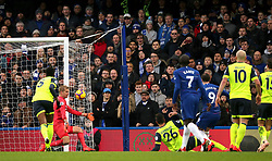 Chelsea's Gonzalo Higuain (right) scores his side's first goal of the game