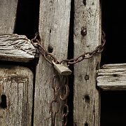 Chain and lock of abandoned house at El Bierzo region