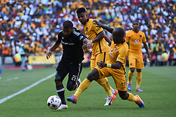 Chiefs Sibusiso Khumalo tackles Pirates Riyaad Norodien during the 2016 Premier Soccer League match between Orlando Pirates and Kaizer Chiefs held at theFNB Stadium in Johannesburg, South Africa on the 29th October 2016<br /> <br /> Photo by:   Real Time Images