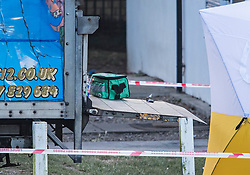 © Licensed to London News Pictures. 15/09/2019. London, UK. Medical equipment left on the back of a van at the scene at a children's play area in Jubilee Park in Edmonton, North London where a man, reported to be 30 years old, has bene stabbed to death. A man in his 40's has been arrested. Photo credit: Ben Cawthra/LNP