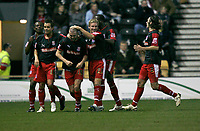 Dominic Matteo (third left) celebrates his second goal against Derby County for Stoke City