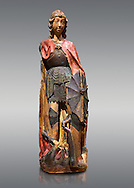 Gothic terracotta statue of the Archangel Gabriel attributed to Lorenzo Mercadante de Bretanya of Seville, circa 1460, from the convent of Santa Clara de Fregenal de la Sierra, Badajoz..  National Museum of Catalan Art, Barcelona, Spain, inv no: MNAC  4367. .<br /> <br /> If you prefer you can also buy from our ALAMY PHOTO LIBRARY  Collection visit : https://www.alamy.com/portfolio/paul-williams-funkystock/gothic-art-antiquities.html  Type -     MANAC    - into the LOWER SEARCH WITHIN GALLERY box. Refine search by adding background colour, place, museum etc<br /> <br /> Visit our MEDIEVAL GOTHIC ART PHOTO COLLECTIONS for more   photos  to download or buy as prints https://funkystock.photoshelter.com/gallery-collection/Medieval-Gothic-Art-Antiquities-Historic-Sites-Pictures-Images-of/C0000gZ8POl_DCqE