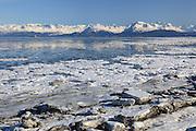 Kachemak Bay and Kenai Mountains, Homer Spit, Homer, Kenai Peninsula, Alaska, USA