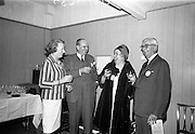 """15/07/1967<br /> 07/15/1967<br /> 15 July 1967<br /> Hennessy Handicap at Leopardstown Races, Leopardstown Racecourse, Co. Dublin. Pictured are (l-r): Unknown lady; His Excellency , M. Robert Roger du Gardier, French Ambassador to Ireland; Mrs J.A.N. Glover of Moneymore, Co. Derry, wife of owner of """"My Kuda"""" winner of Hennessy Handicap and Mr Maurice Hennessy, Chairman of Jas Hennessy and Co. Ltd."""