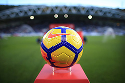 4th November 2017 - Premier League - Huddersfield Town v West Bromwich Albion - A general view of the yellow Nike Ordem winter matchball on it's plinth - Photo: Simon Stacpoole / Offside.