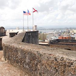 Flags fly atop Fort San Cristobal in San Juan, Puerto Rico.