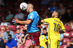 David Mirfin of Scunthorpe United heads the ball - Mandatory by-line: Matt McNulty/JMP - 06/08/2016 - FOOTBALL - Glanford Park - Scunthorpe, England - Scunthorpe United v Bristol Rovers - Sky Bet League One