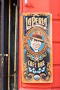 Sign outside La Perla De Caminito bar, La Boca, Buenos Aires, Argentina, South America