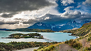 Panorama of Los Cuernos (The Horns), Lago Pehoe, and Hosteria Pehoe, in Ultima Esperanza Province, Chile, Patagonia, South America. Torres del Paine National Park is listed as a World Biosphere Reserve by UNESCO. This image was stitched from multiple overlapping photos.