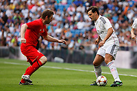 Real Madrid´s Morientes (R) and Liverpool´s Owen during 2015 Corazon Classic Match between Real Madrid Leyendas and Liverpool Legends at Santiago Bernabeu stadium in Madrid, Spain. June 14, 2015. (ALTERPHOTOS/Victor Blanco)