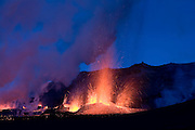 Erupting volcano on Fimmvörðuháls, south Iceland in March 2010