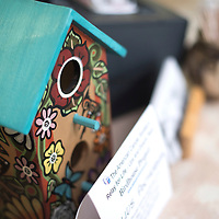 """043015      Cayla Nimmo<br /> <br /> Julius Pochoema's  birdhouse titled """"Bird's Home"""" is on display at the hostess counter at Earl's restaurant in Gallup. The birdhouse is a part of a fundraiser for relay for life and will be auctioned off at Sammy C's Sunday May 3 at 6:00 p.m."""