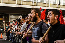 Protesting students shout slogans during a protest against newly announced educational reforms and the lifting of the universities asylum, in Athens, Greece on October 24, 2019<br /> <br /> Pictured: <br /> Dimitris Lampropoulos  | EEm date