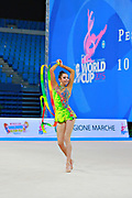 Kosoulieva Angela of Poland competes during the rhythmic gymnastics individual ribbon qualification of the World Cup at Adriatic Arena on April 11, 2015 in Pesaro, Italy.<br /> Angela was born in Gdynia, Poland in 1999.