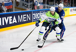 David Rodman of Slovenia vs Loic Lamperier of France during the 2017 IIHF Men's World Championship group B Ice hockey match between National Teams of France and Slovenia, on May 15, 2017 in AccorHotels Arena in Paris, France. Photo by Vid Ponikvar / Sportida