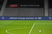 """Signage is illuminated promoting Chevron as the """"Official energy parter of LAFC"""" during a MLS soccer game, Sunday, Sept. 27, 2020, in Los Angeles. The San Jose Earthquakes defeated LAFC 2-1.(Dylan Stewart/Image of Sport)"""