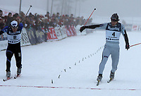 Langrenn , NM på ski  Nordiske grener 29 januar 2005 , Birkebeineren Skistadion  , 2 x 15 km  jaktstart  menn<br /> <br /> Jens Arne Svartedal , Trøsken IL fikk tåa først over målstreken foran Eldar Rønning , Skogn IL