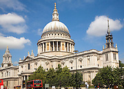 View of St Paul's cathedral from Cannon Street, London