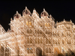 Blurry, streaked lights of Mysore Palace.